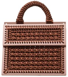 Brown hand woven large purse with handle, dusty pink wood frames, removable and resizable pink strap with gold hardware. nylon rattail Height: cm Width: cm Depth: cm Handmade in Tbilisi Large Purses, Purses And Bags, Wooden Bag, Dusty Pink, Gold Hardware, Fasion, Hand Weaving, Handbags, Frame