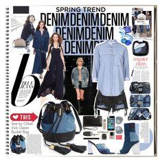 """The Fashion Notebook: Denim Denim Denim"" by ccclem ❤ liked on Polyvore featuring MICHAEL Michael Kors, Nico, Yves Saint Laurent, Chloé, Topshop, Alexander Wang, See by Chloé, Amélie Pichard, Coach and Chanel"