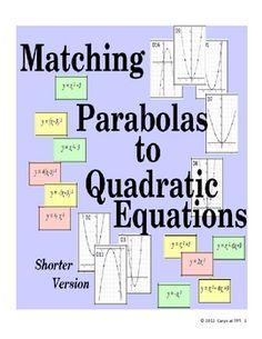 Matching Graphs to Quadratic Equations Activity (Free Version) - Caryn - TeachersPayTeachers.com
