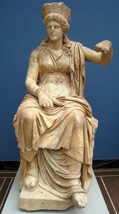 Magna Mater / Cybele, Roman statue (marble), 1st century BC, (Ny Carlsberg Glyptotek, Copenhagen).