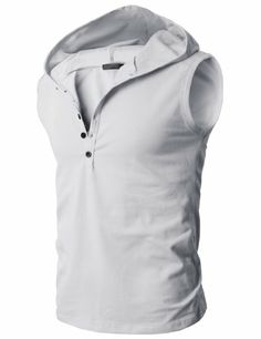 H2H Men's Lightweight Sleeveless Fashion Hoodies with Henley Neck-line