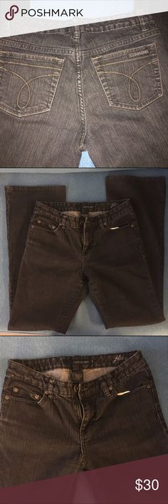 "Calvin Klein black denim flare pants In a very good condition. Size 4 flare pants (not bell shape), inseams 30"", low cut waist 32"". Color is darker than the pictures. Calvin Klein Jeans Jeans Flare & Wide Leg"