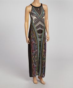 Another great find on #zulily! Emma & Michele Black Scarf-Print Maxi Dress by Emma & Michele #zulilyfinds