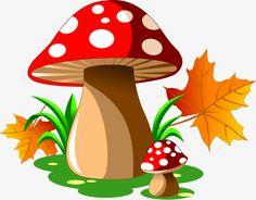 Cartoon mushrooms with autumn leaves vector Mushroom Crafts, Mushroom Art, Jungle Decorations, School Decorations, Autumn Trees, Autumn Leaves, Masha Et Mishka, Cartoon Mushroom, Mushroom Clipart