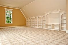 Carpet and built ins for playroom but idk how this could translate to a big kid playroom