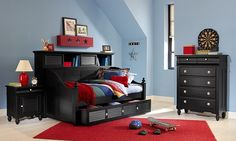 The Mayflower II Black Furniture Kids Collection | Furniture.com. Black pine solid bookcase daybed with trundle.