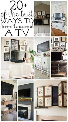 See 20 ways to decorate around those big black rectangles! A must pin for every home that has a TV!!