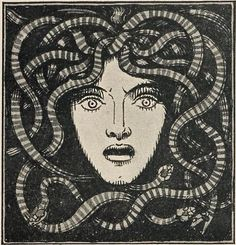 Medusa, by Franz von Stuck, from Jugend Magazine Medusa Kunst, Medusa Art, Medusa Gorgon, Medusa Tattoo, Medusa Painting, Art And Illustration, Belle Epoque, Short Boxe, Clash Of The Titans