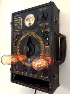 Steampunk Lamp - Industrial Machine Art, Antique Gauge, Vintage Tube Tester by SomethingReimagined on Etsy