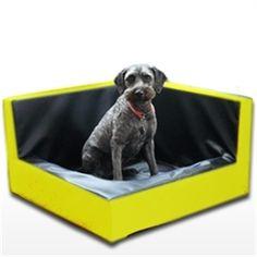 BIA corner hondenmand hoek geel / zwart 100X100 CM