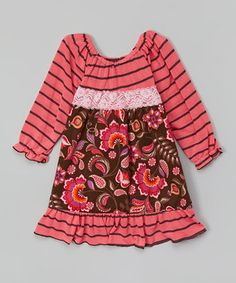 Brown & Pink Paisley Babydoll Dress - Toddler & Girls by Ruby and Rosie #zulily #zulilyfinds