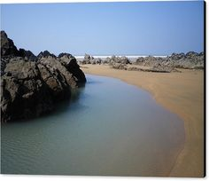 ROCK POOL Canvas Print featuring the photograph Rock Pool by Richard Brookes.  DESCRIPTION: A large rock pool at Sandymouth beach in North Cornwall. Photo by & copyright Richard Brookes