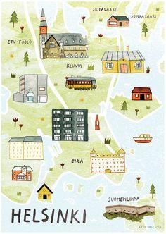 Helsinki Illustrated Map Finland Art Print City by LiviGosling: