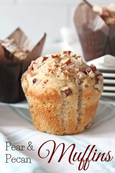 Pear and Pecan Muffins (Threadbare Creations) Pear Dessert Recipes, Brunch Recipes, Pear Recipes Healthy, Blender Recipes, Healthy Fruits, Healthy Smoothies, Vegetable Smoothies, Paleo Recipes, Muffin Recipes