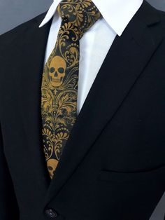 Gold Skull Tie, Black with Gold Skulls Necktie. Gold Skull, Skulls, Make A Tie, Suit Shirts, Long Ties, Tall Guys, Skinny Ties, Neckties, Pocket Square
