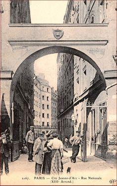 Vue de la cité Jeanne-d'Arc, dans la rue Nationale, vers 1905 (Paris 13ème)
