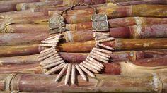 Vintage Howlite spike necklace Spike Statement by HandyStar