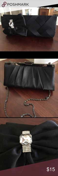 Black Satin Clutch 🖤 Adorable black clutch with bow and faux gem detailing!! NWT! Bags Clutches & Wristlets