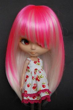 "Pink & White Striaght Long Hair Wig w/ Bangs 12"" Blythe *Doll not included!*"
