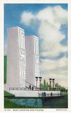A Century Of Progress, Chicago's 1934 International Exposition - Boat Landing And Pylons At The Gate To The Electrical Building.