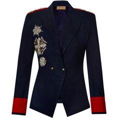Nadya Shah Maya Navy Blazer ($1,350) ❤ liked on Polyvore featuring outerwear, jackets, blazers, navy, colorblock jackets, navy blue blazer, blue blazer jacket, navy jackets and navy blazer