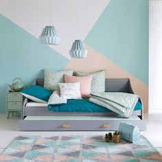 Boden Wand Malerei Farbe Farbe Tapete Parkett Tapete Holz c Boden Wand Malere… - Painted Floor Tile Bedroom Wall Designs, Bedroom Decor, Bedroom Ideas, Girl Room, Girls Bedroom, Bedrooms, Room Wall Painting, New Room, Room Colors