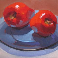 """Two Apples on Blue Glass Plate"" by Robin Rosenthal"