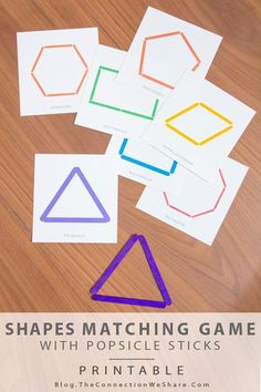 Educational activities for kids can be fun when you have a shapes matching game like this one created by Amy. Free printables are included for you, too! activities Shapes Matching Game and a Free Printable (she: Amy) Preschool Learning, Kindergarten Math, Fun Learning, Teaching Kids, Shape Matching, Matching Games, Educational Activities For Kids, Preschool Activities, Preschool Shape Activities