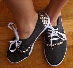 DIY studded canvas sneakers