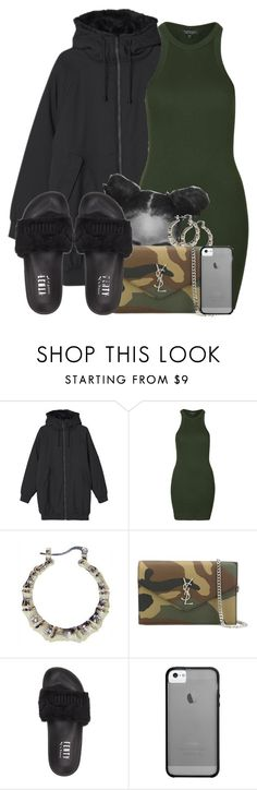 """Untitled #660"" by b-elkstone ❤ liked on Polyvore featuring Monki, Topshop, Yves Saint Laurent, Puma and Haze"