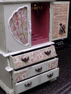 XL Shabby Chic Jewelry Box Farmhouse Cabinet Vintage by Eweniques, $130.00