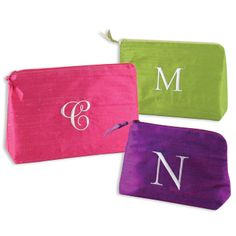 Silk Solid Embroidered Initial Cosmetic Bag