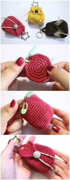# Crochet Mini Backpack Purse Check more at www. # Crochet Mini Backpack Purse Check more at www. Crochet Gifts, Crochet Dolls, Easy Crochet, Crochet Lace, Crochet Shell Stitch, Crochet Stitches, Diy Hair Accessories, Crochet Accessories, Crochet Keychain