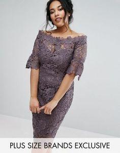 Кружевное платье с широким вырезом и расклешенными рукавами Paper Dolls Plus