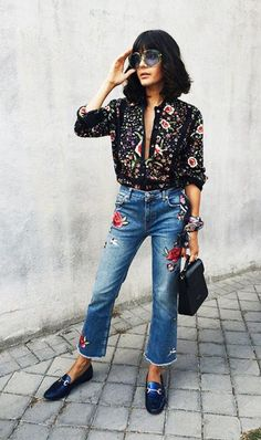 LOVE the blouse! Jeans need to be longer.