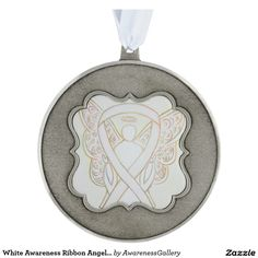 White Awareness Ribbon Angel  Pewter Scalloped Holiday Pendant Ornament