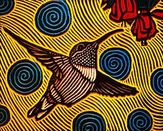 hummingbird (Lisa Brawn) Tags: art birds woodcuts popart woodcut wildbirds