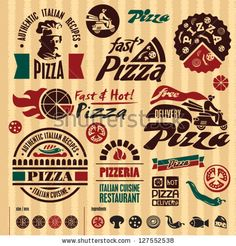 Pizza labels collection. - stock vector