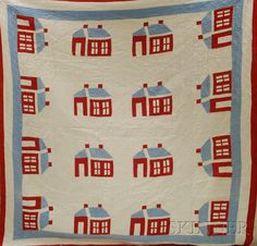 Red, White, and Light Blue Pieced Cotton Schoolhouse Pattern Quilt