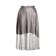 Topshop Asymmetric Pleat Midi Skirt (5.525 RUB) ❤ liked on Polyvore featuring skirts, bottoms, юбки, silver, asymmetrical skirt, panel skirt, topshop skirts, metallic pleated skirt and metallic skirt