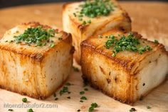 Potato Pave Recipe. Peel potatoes, slice thin, bake in loaf pan. Refrigerate overnight. Then cut into large cubes and sauté. Serve hot with pat of butter and chives on top. These take time and some prep; but mmmm all that butter and crispy potato-ness would be perfect for a special meal.