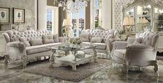 Versaillies Ivory Velvet Sofa- 52105