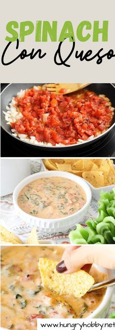 Homemade spinach con queso (without the processed cheese) that you won't be able to resist! The perfect cheesy appetizer for any gettogether.