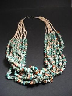 VINTAGE Santo Domingo 8 STRAND  TURQUOISE,  OYSTER SHELL HEISHI Necklace Old