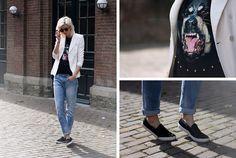 Choies Dog Tee, Zara Blazer, H Boyfriend Jeans, Romwe Sunnies, Zara Hairy Slipons