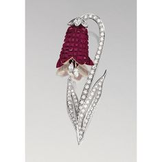 RUBY AND DIAMOND BROOCH, ALETTO BROTHERS