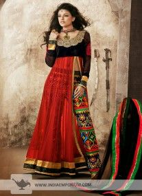 Red & Black Semi Stitched Designer Suit