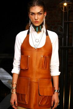 """""""Pamela Love showed her new FW12 collection of increasingly elaborate jewelry with men's workwear including Carhart overalls and a smart-looking leather work apron."""" quote a pin via Claflin, Thayer and Co."""