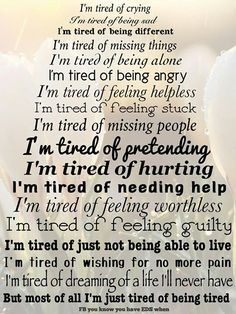 .I feel so alone. It's so hard when family and friends don't understand the pain. I'm tired of hoping and praying the next pill, or series of injections will take away some of the pain, it never does,