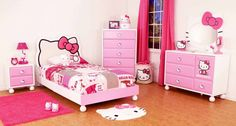 Dazzling Girls Bedroom White Wall Color Ideas with Single Beds Hello Kitty and White Wooden Cabinet of Lid Hello Kitty also Brown Floor Wood Design